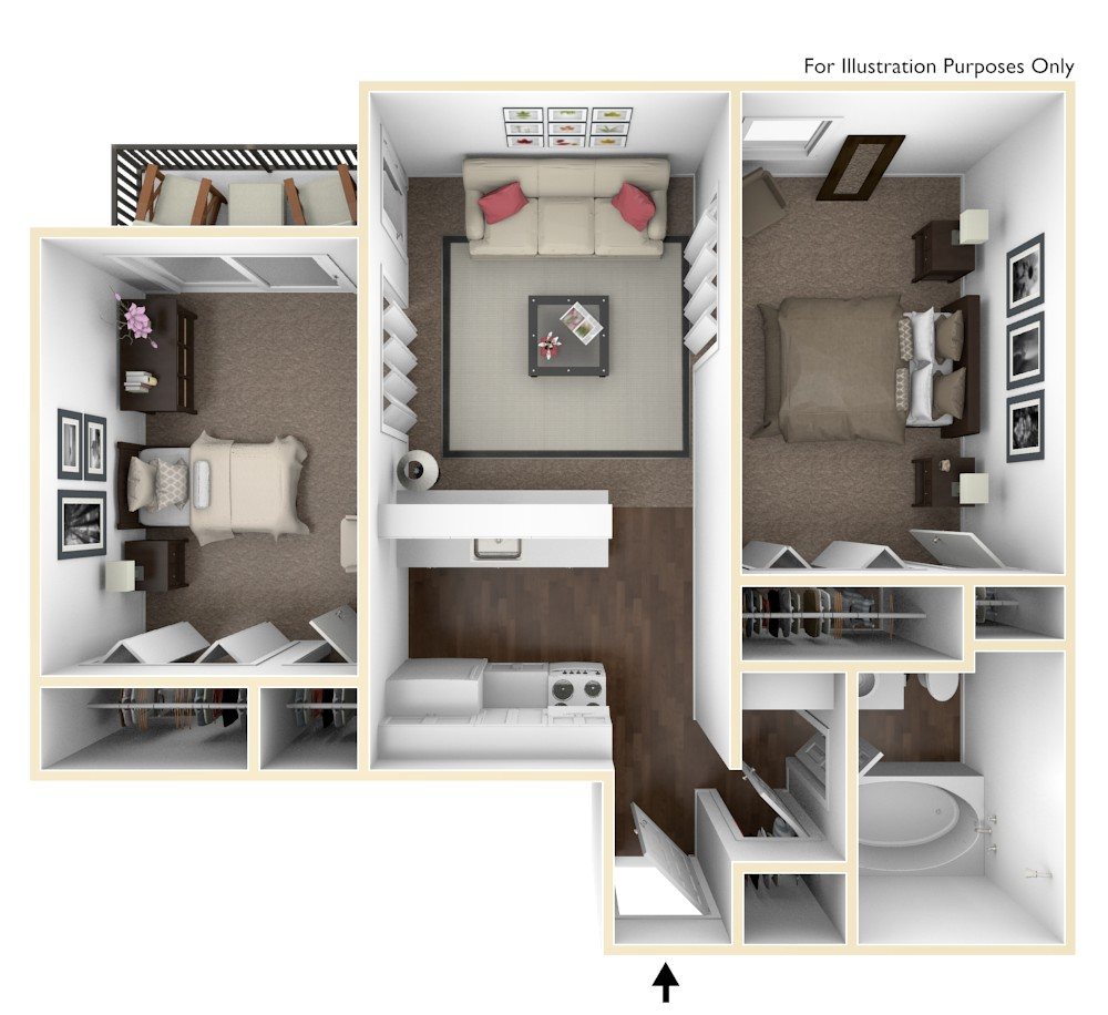 Beal Street Apartments 2 Bedroom (Medium)
